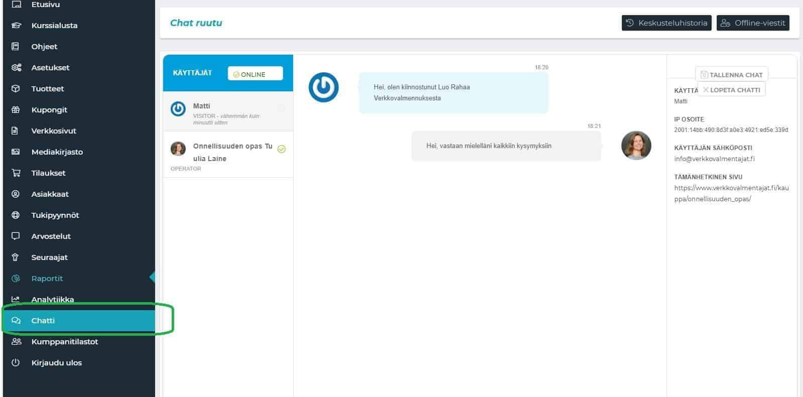 live chat verkkokaupan hallintapaneeli